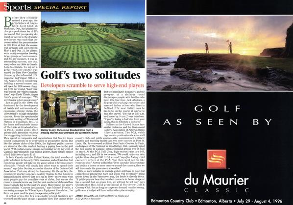 Article Preview: Golf's two solitudes, May 1996 | Maclean's