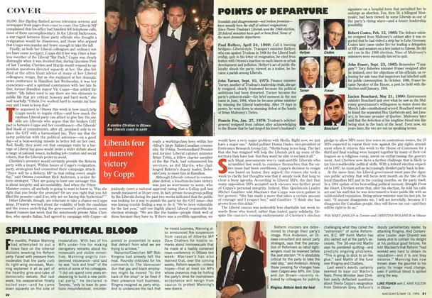 Article Preview: SPILLING POLITICAL BLOOD, May 1996 | Maclean's