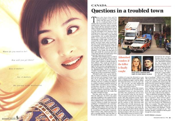 Article Preview: Questions in a troubled town, May 1996 | Maclean's