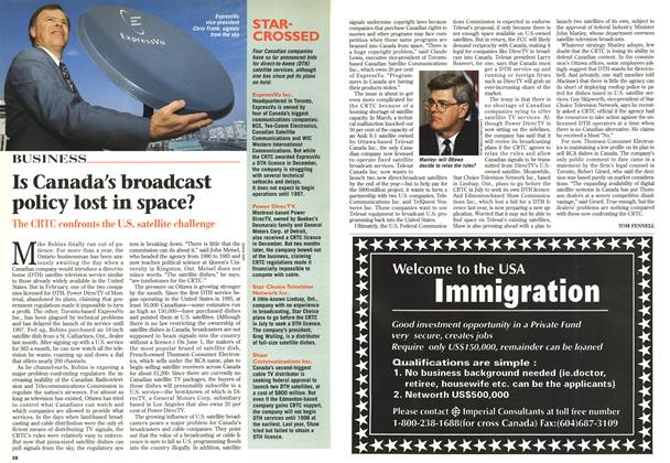 Article Preview: Is Canada's broadcast policy lost in space?, May 1996 | Maclean's