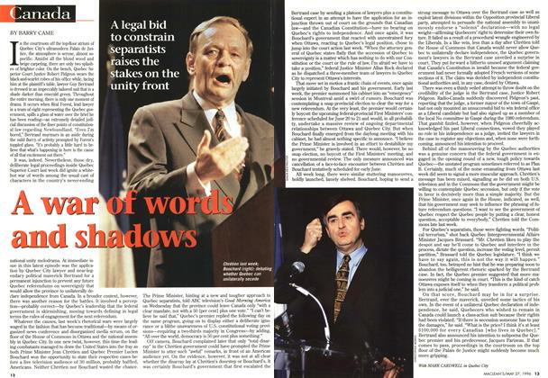 Article Preview: A war of words and shadows, May 1996 | Maclean's