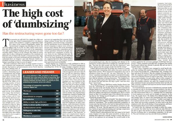 Article Preview: The high cost of 'dumbsizing', JUNE 3,1996 1996 | Maclean's
