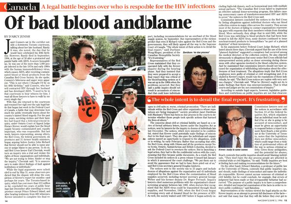 Article Preview: Of bad blood and blame, JUNE 3,1996 1996 | Maclean's