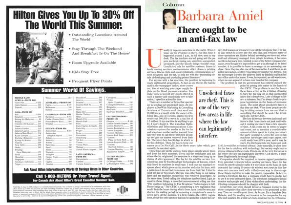 Article Preview: There ought to be an anti-fax law, June 1996 | Maclean's
