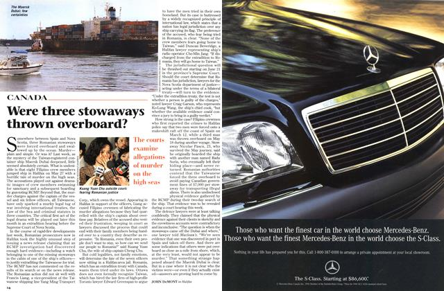 Article Preview: Were three stowaways thrown overboard?, June 1996 | Maclean's