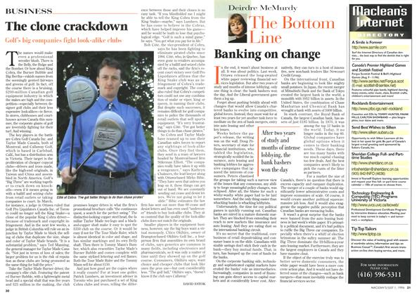 Article Preview: Banking on change, July 1996 | Maclean's