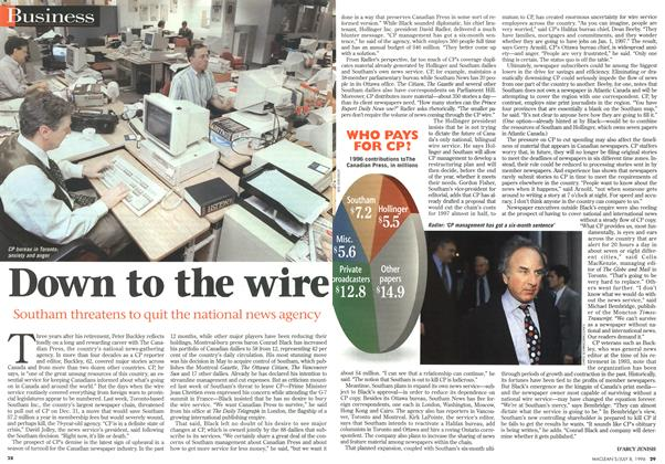 Article Preview: Down to the wire, July 1996 | Maclean's