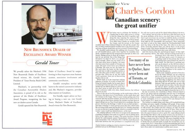 Article Preview: Canadian scenery: the great unifier, July 1996 | Maclean's