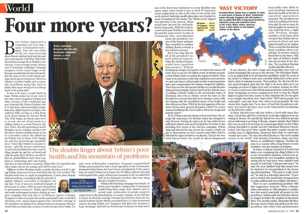 Article Preview: Four more years?, July 1996 | Maclean's
