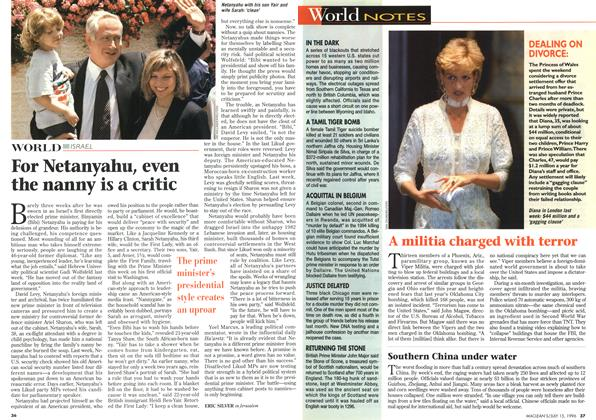 Article Preview: For Netanyahu, even the nanny is a critic, July 1996 | Maclean's