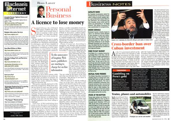 Article Preview: A licence to lose money, July 1996 | Maclean's