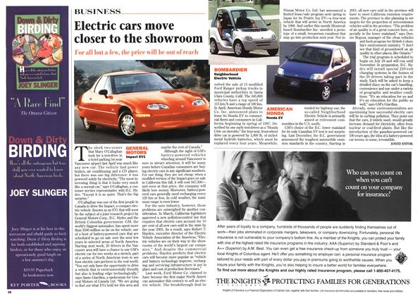 Article Preview: Electric cars move closer to the showroom, July 1996 | Maclean's