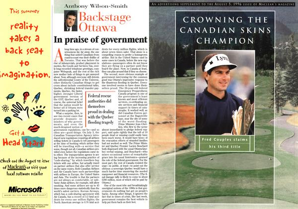 Article Preview: In praise of government, August 1996 | Maclean's