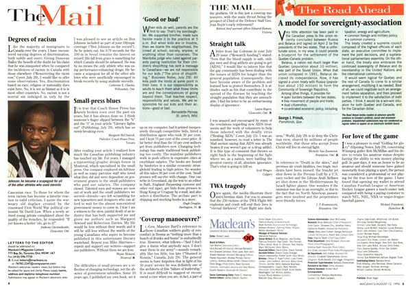 Article Preview: The Mail, August 1996 | Maclean's