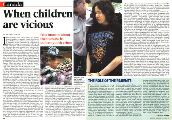 Article Preview: When children are vicious, August 1996 | Maclean's
