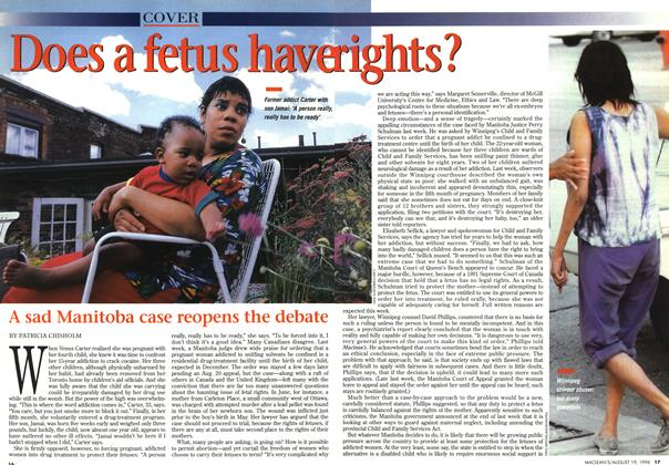 Article Preview: Does a fetus have rights?, August 1996 | Maclean's
