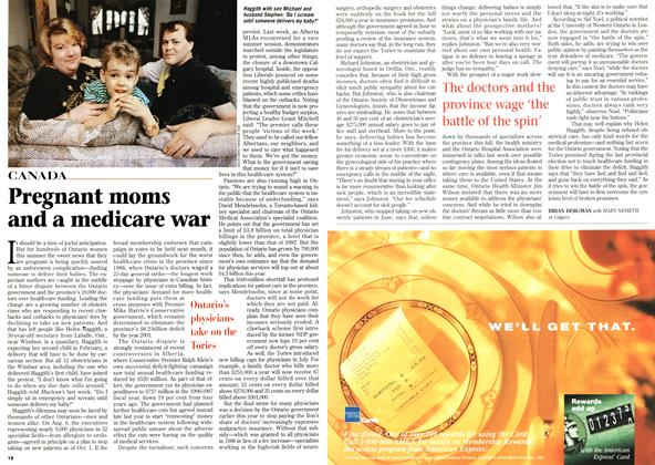 Article Preview: Pregnant moms and a medicare war, August 1996 | Maclean's