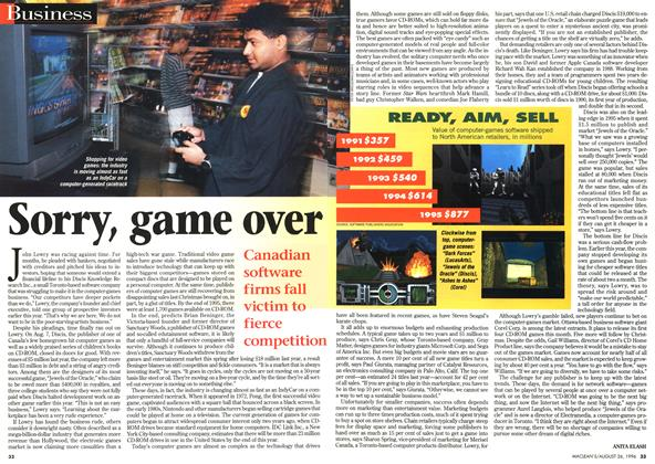 Article Preview: Sorry, game over, August 1996 | Maclean's