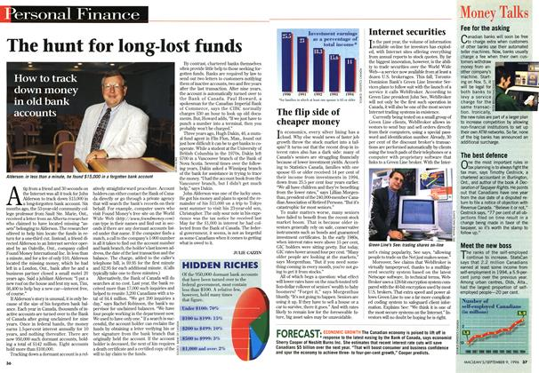 Article Preview: The hunt for long-lost funds, September 1996 | Maclean's