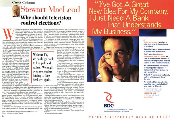 Article Preview: Why should television control elections?, September 1996 | Maclean's