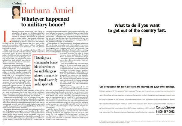 Article Preview: Whatever happened to military honor?, September 1996 | Maclean's