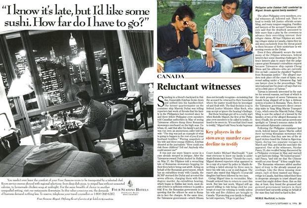 Article Preview: Reluctant witnesses, September 1996 | Maclean's
