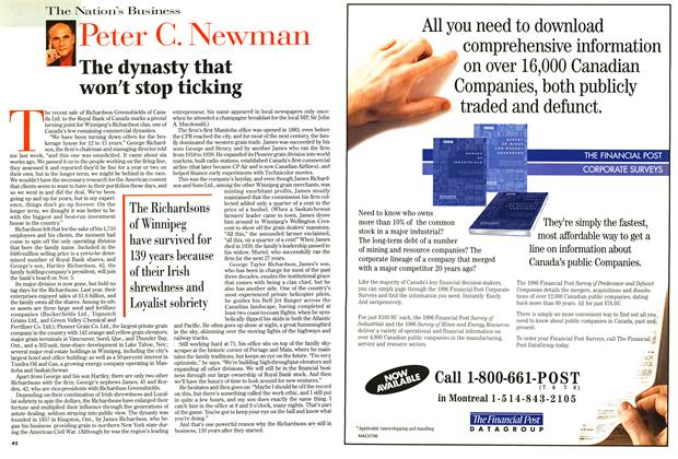 Article Preview: The dynasty that won't stop ticking, September 1996   Maclean's