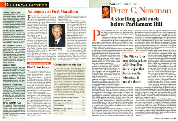 Article Preview: A startling gold rush below Parliament Hill, September 1996 | Maclean's