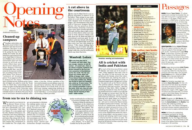 Article Preview: Opening Notes, September 1996 | Maclean's