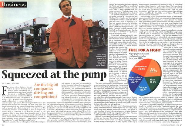 Article Preview: Squeezed at the pump, October 1996 | Maclean's