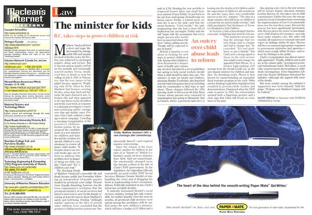 Article Preview: The minister for kids, October 1996 | Maclean's