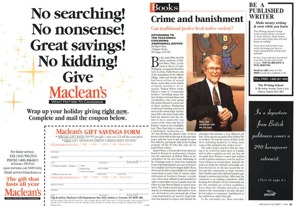 Article Preview: Crime and banishment, October 1996 | Maclean's