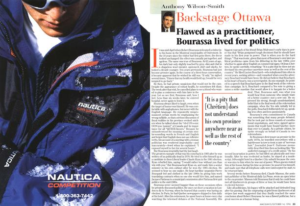 Article Preview: Flawed as a practitioner, Bourassa lived for politics, October 1996 | Maclean's
