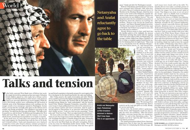 Article Preview: Talks and tension, October 1996 | Maclean's
