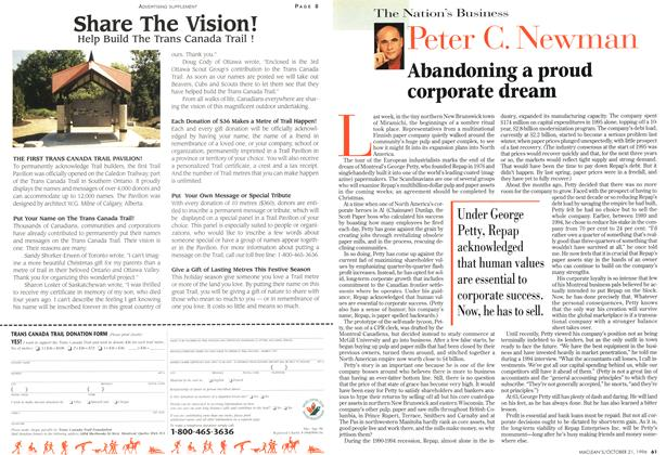 Article Preview: Abandoning a proud corporate dream, October 1996 | Maclean's
