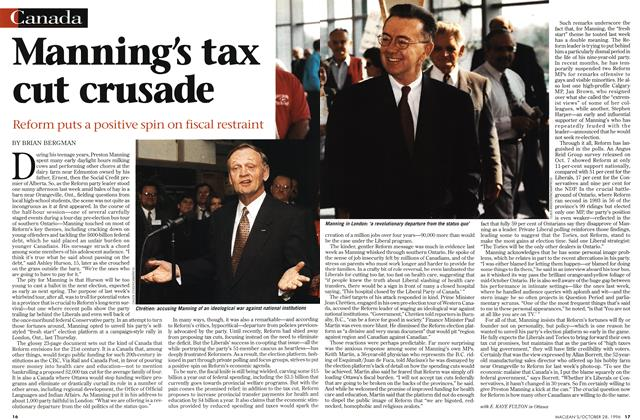 Article Preview: Manning's tax cut crusade, OCTOBER  1996 | Maclean's