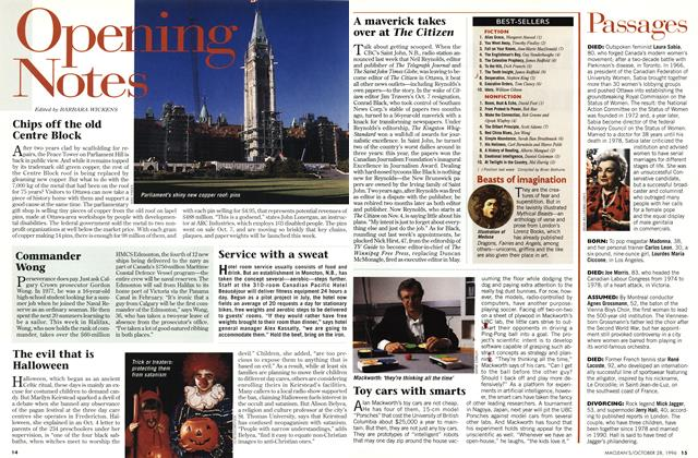 Article Preview: Opening Notes, OCTOBER  1996 | Maclean's