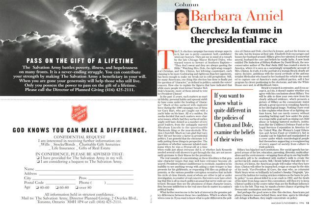 Article Preview: Cherchez la femme in the presidential race, November 1996 | Maclean's