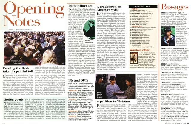Article Preview: Opening Notes, November 1996 | Maclean's