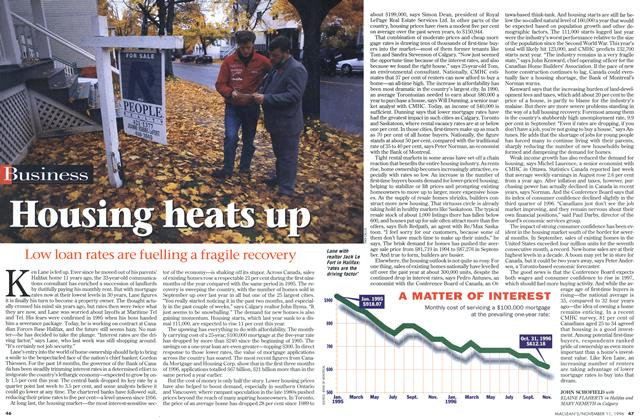 Article Preview: Housing heats up, November 1996 | Maclean's