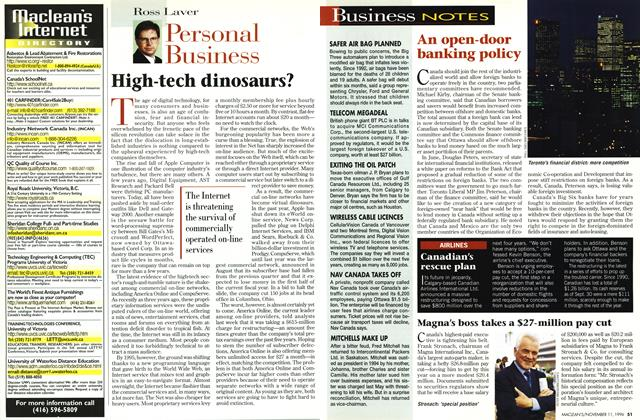 Article Preview: High-tech dinosaurs?, November 1996 | Maclean's