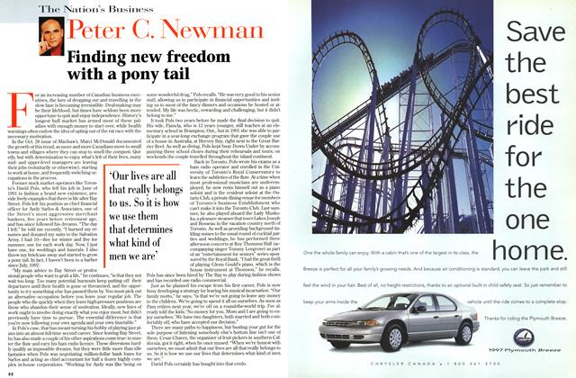 Article Preview: Finding new freedom with a pony tail, November 1996 | Maclean's