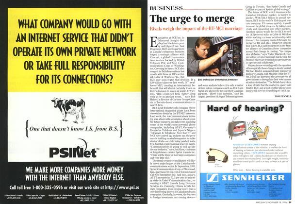 Article Preview: The urge to merge, November 1996 | Maclean's