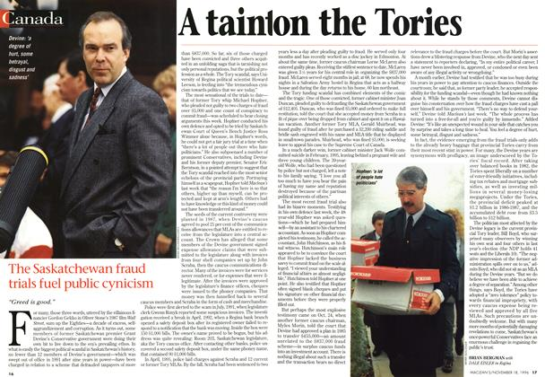 Article Preview: A taint on the Tories, November 1996 | Maclean's