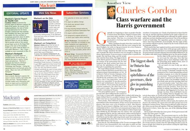 Article Preview: Class warfare and the Harris government, November 1996 | Maclean's