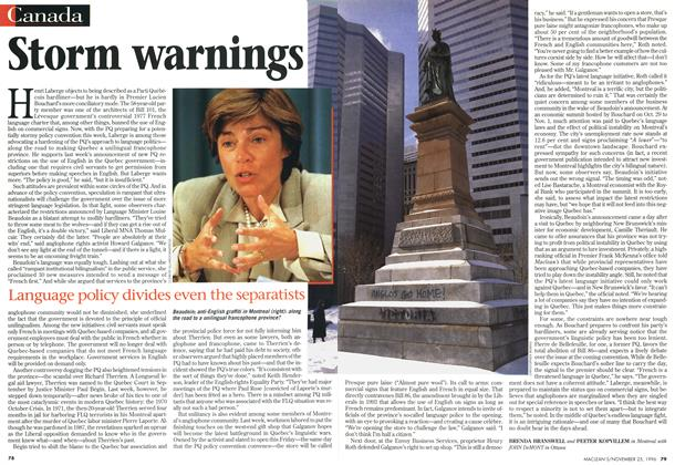 Article Preview: Storm warnings, November 1996 | Maclean's