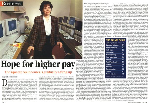 Article Preview: Hope for higher pay, November 1996 | Maclean's