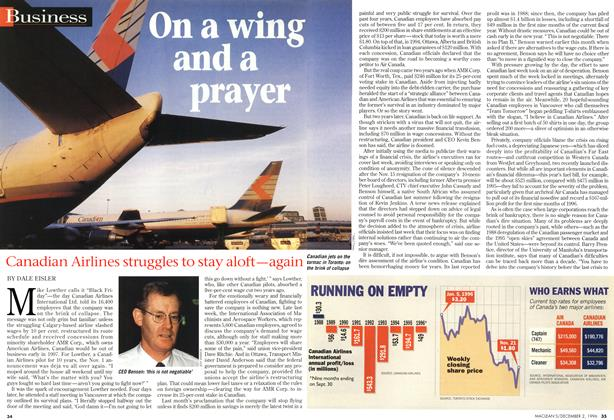Article Preview: On a wing and a prayer, December 1996 | Maclean's