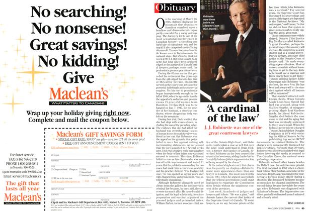 Article Preview: 'A cardinal of the law', December 1996 | Maclean's