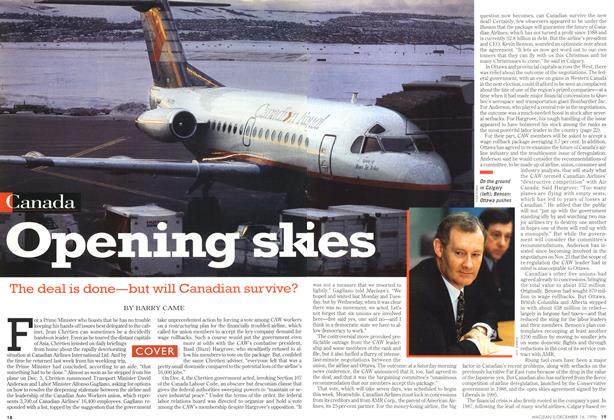 Article Preview: Opening skies, December 1996 | Maclean's
